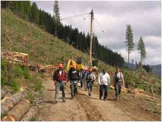 Association of Oregon Loggers: Logging Crew on Logging Road
