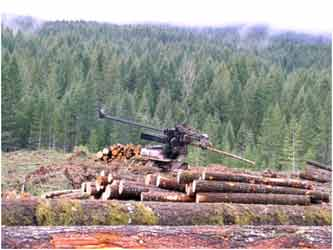 Association of Oregon Loggers: Equipment Moving Pile of Logs